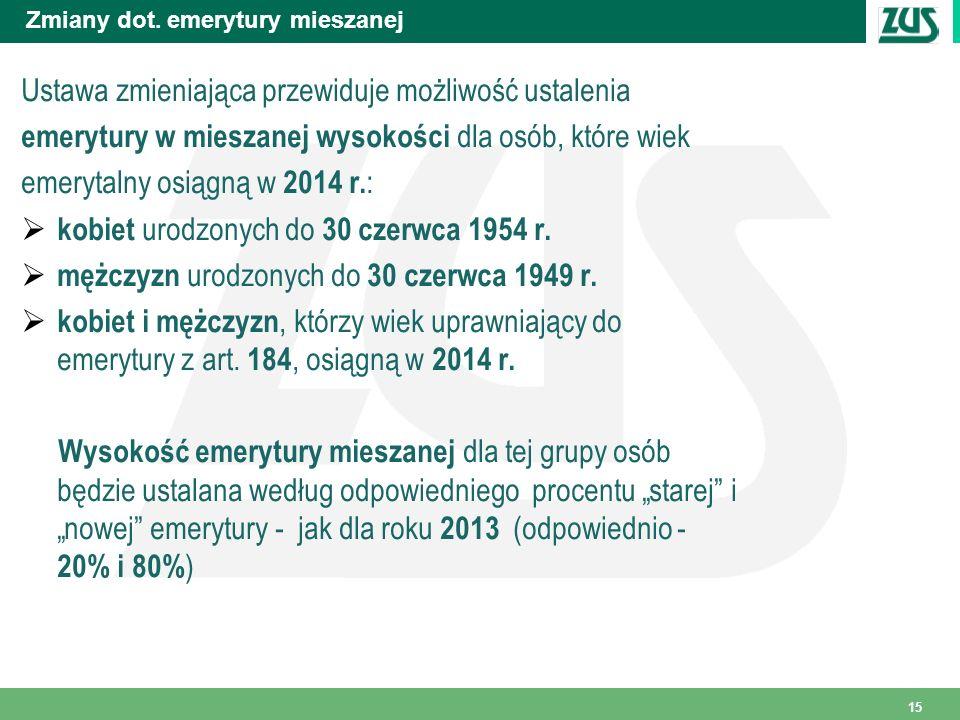 Zmiany dot. emerytury mieszanej