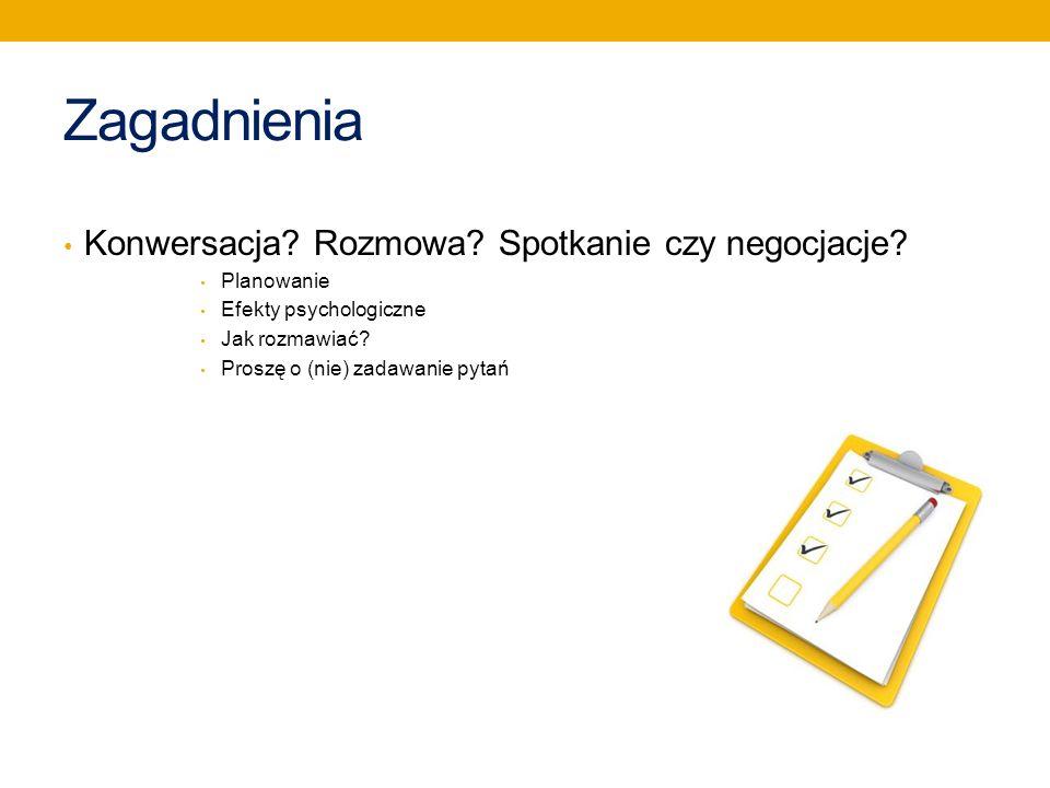 Zagadnienia Konwersacja Rozmowa Spotkanie czy negocjacje Planowanie