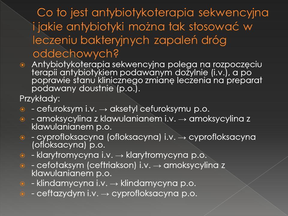 Co to jest antybiotykoterapia sekwencyjna i jakie antybiotyki można tak stosować w leczeniu bakteryjnych zapaleń dróg oddechowych