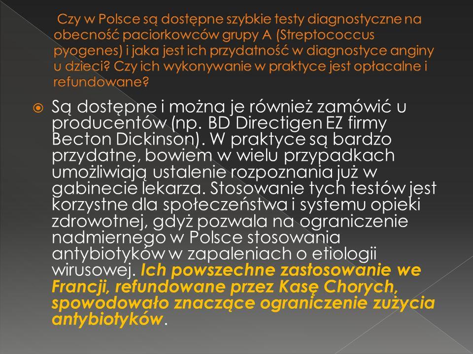 Czy w Polsce są dostępne szybkie testy diagnostyczne na obecność paciorkowców grupy A (Streptococcus pyogenes) i jaka jest ich przydatność w diagnostyce anginy u dzieci Czy ich wykonywanie w praktyce jest opłacalne i refundowane