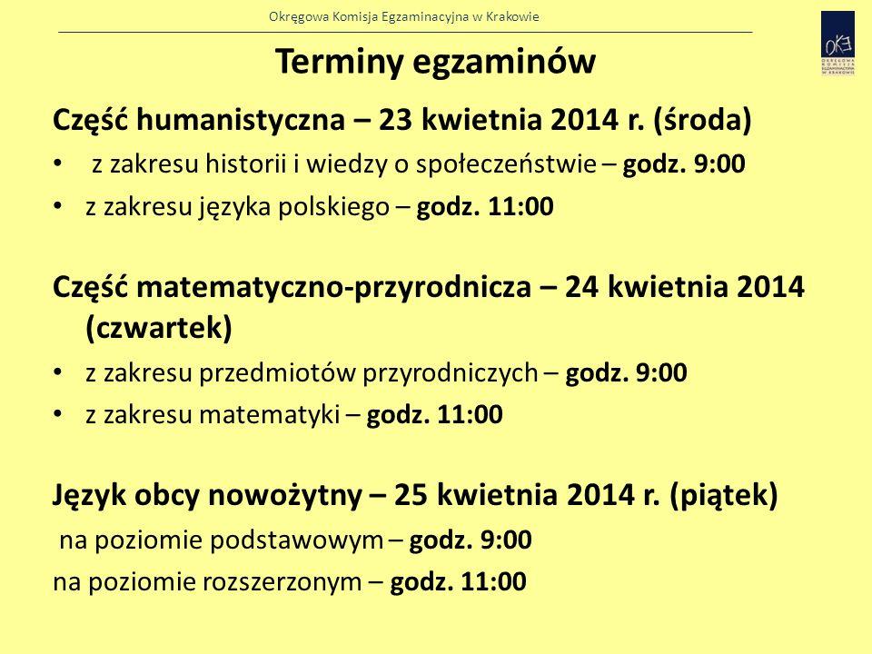 Terminy egzaminów Część humanistyczna – 23 kwietnia 2014 r. (środa)