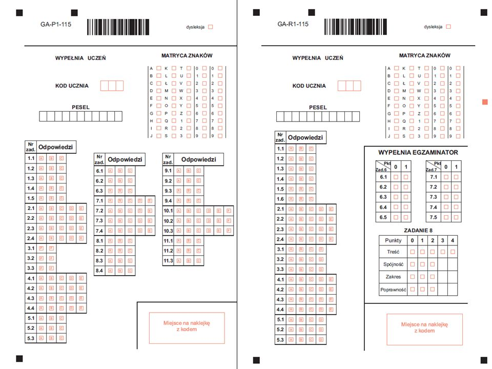 Praca z kartami odpowiedzi