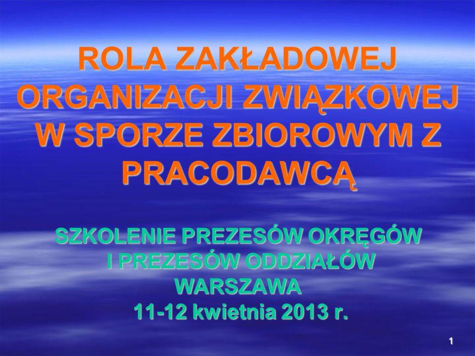 ROLA ZAKŁADOWEJ ORGANIZACJI ZWIĄZKOWEJ W SPORZE ZBIOROWYM Z PRACODAWCĄ SZKOLENIE PREZESÓW OKRĘGÓW I PREZESÓW ODDZIAŁÓW WARSZAWA 11-12 kwietnia 2013 r.