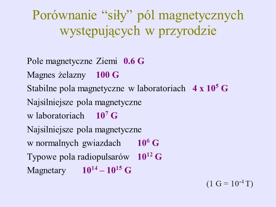 Porównanie siły pól magnetycznych występujących w przyrodzie