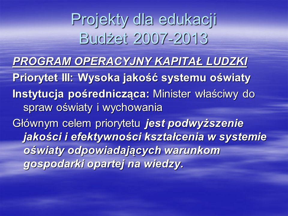 Projekty dla edukacji Budżet 2007-2013