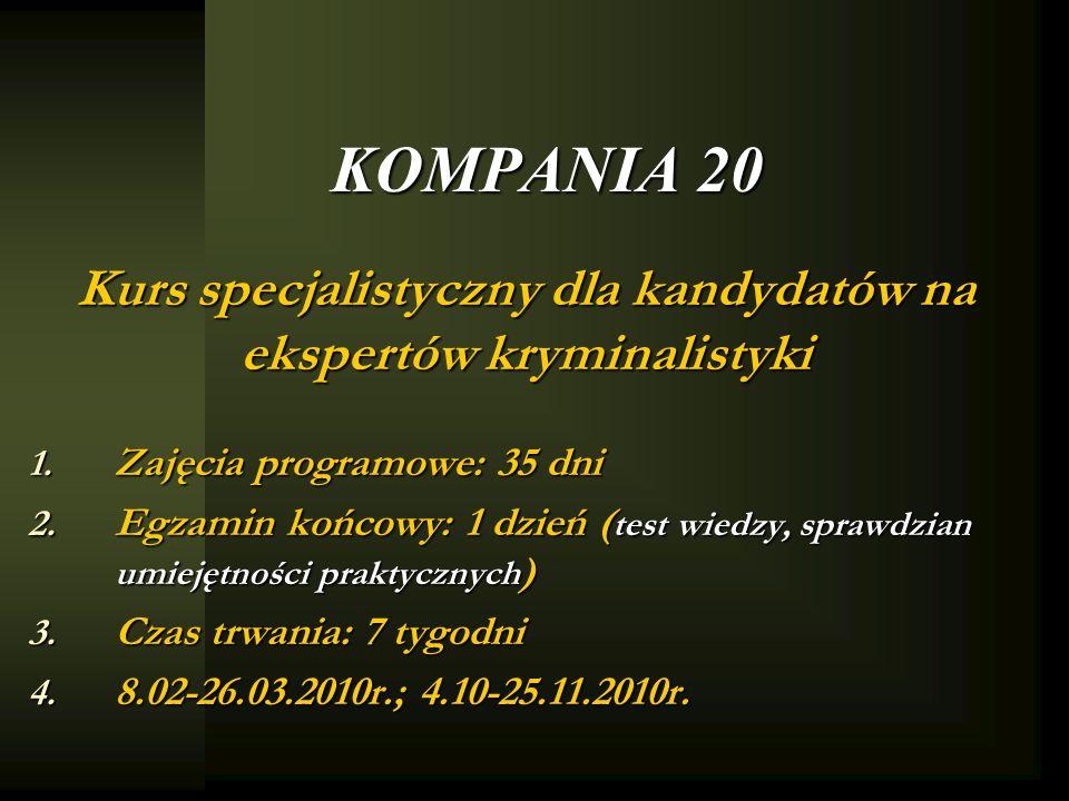 Kurs specjalistyczny dla kandydatów na ekspertów kryminalistyki