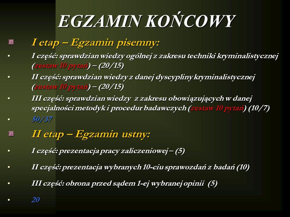 EGZAMIN KOŃCOWY I etap – Egzamin pisemny: II etap – Egzamin ustny: