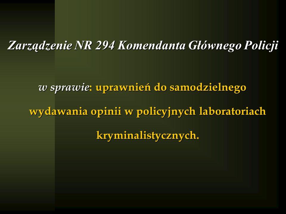 Zarządzenie NR 294 Komendanta Głównego Policji
