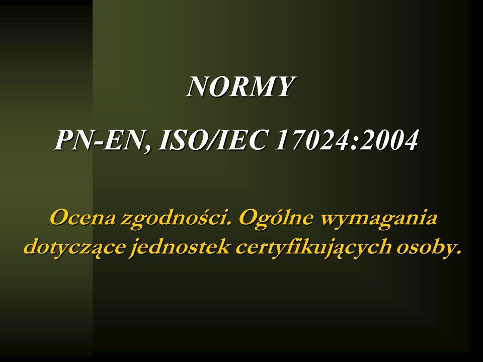 NORMY PN-EN, ISO/IEC 17024:2004 Ocena zgodności.