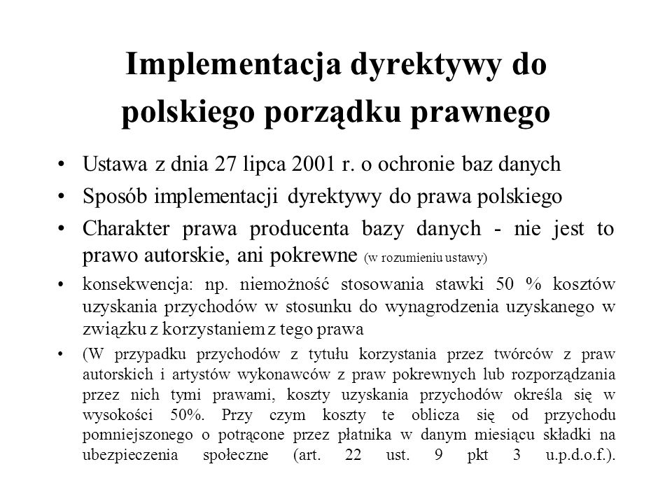 Implementacja dyrektywy do polskiego porządku prawnego