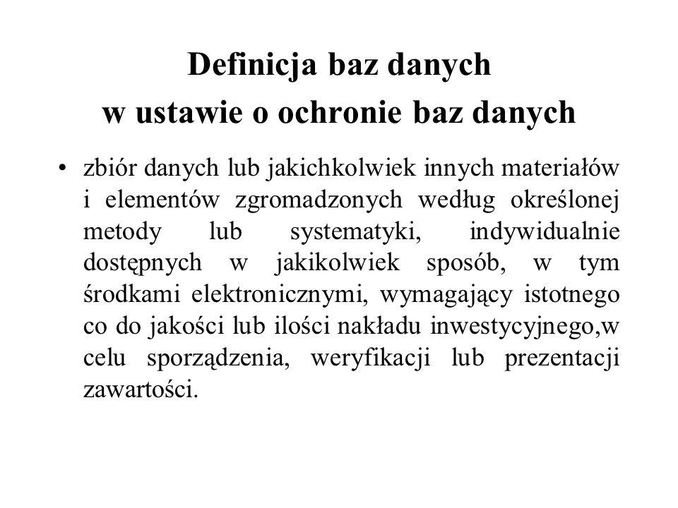 Definicja baz danych w ustawie o ochronie baz danych