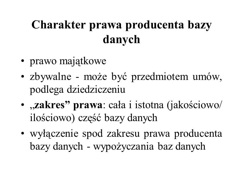 Charakter prawa producenta bazy danych