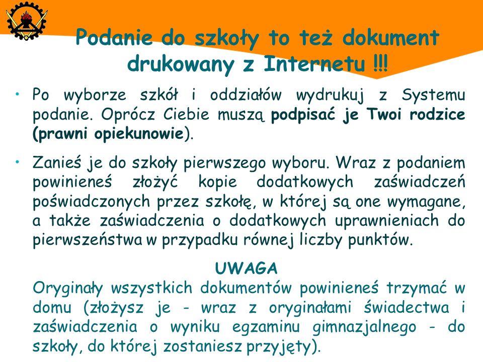 Podanie do szkoły to też dokument drukowany z Internetu !!!