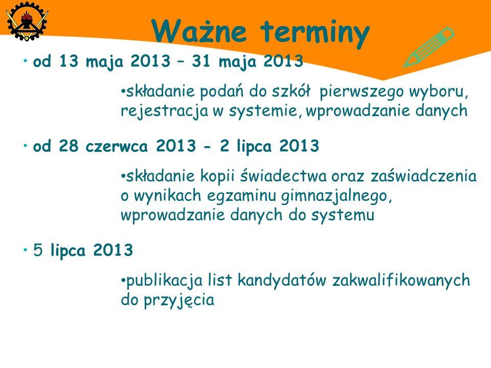 ! Ważne terminy od 13 maja 2013 – 31 maja 2013