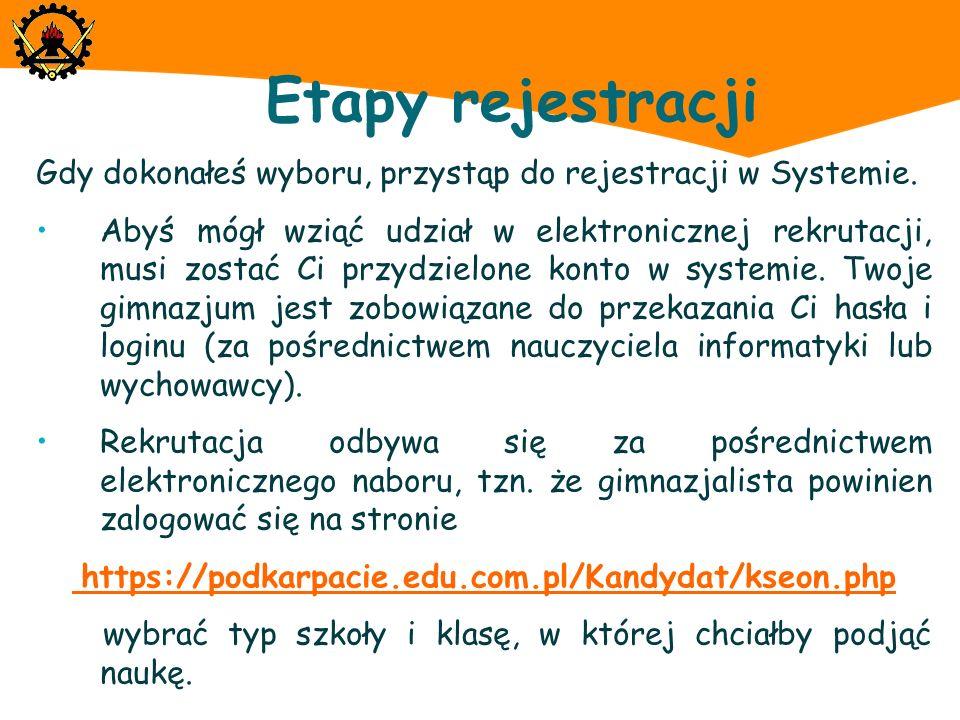 Etapy rejestracji Gdy dokonałeś wyboru, przystąp do rejestracji w Systemie.