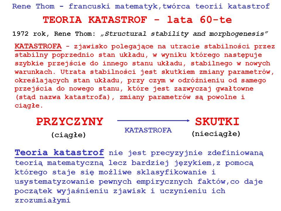 PRZYCZYNY SKUTKI TEORIA KATASTROF - lata 60-te