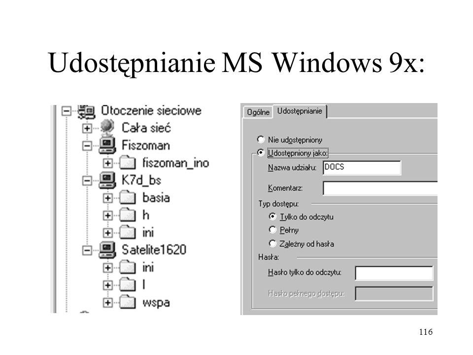 Udostępnianie MS Windows 9x: