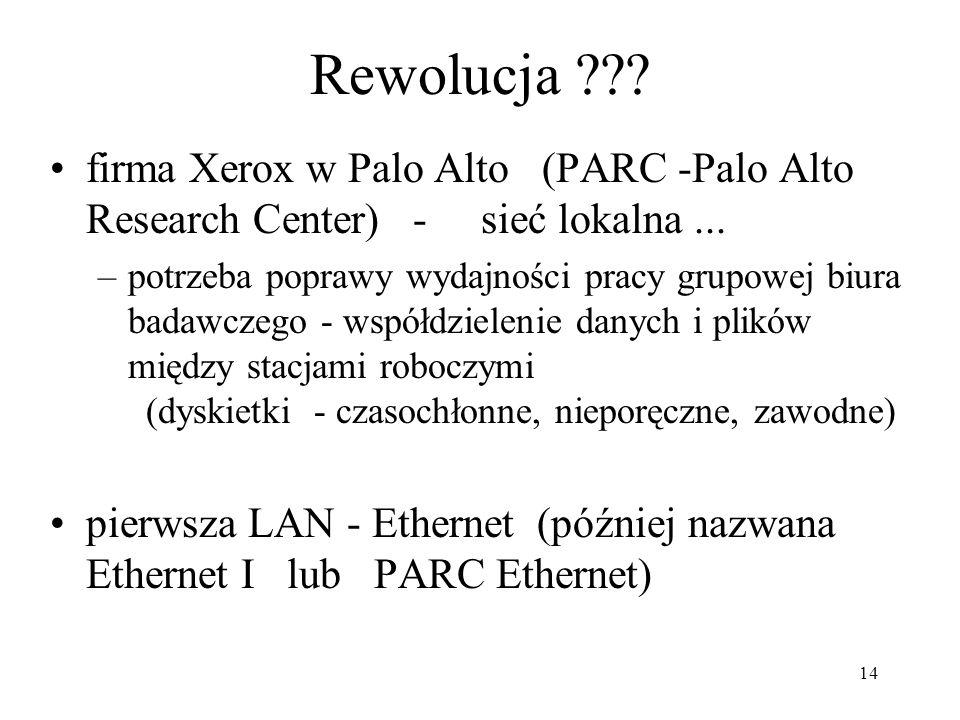 Rewolucja firma Xerox w Palo Alto (PARC -Palo Alto Research Center) - sieć lokalna ...