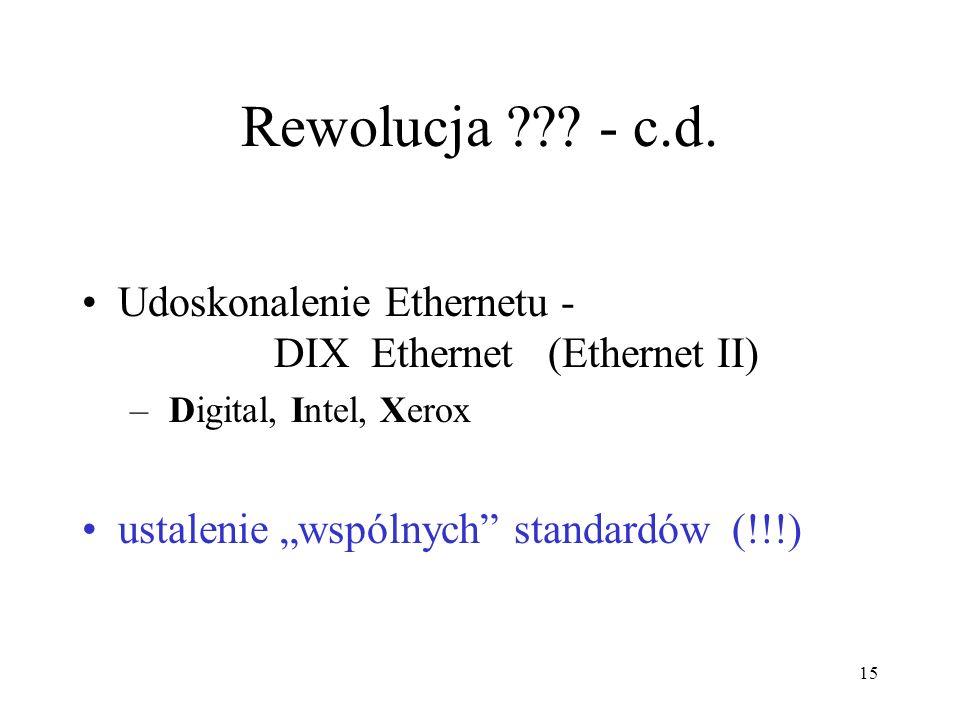 Rewolucja - c.d. Udoskonalenie Ethernetu - DIX Ethernet (Ethernet II) Digital, Intel, Xerox.