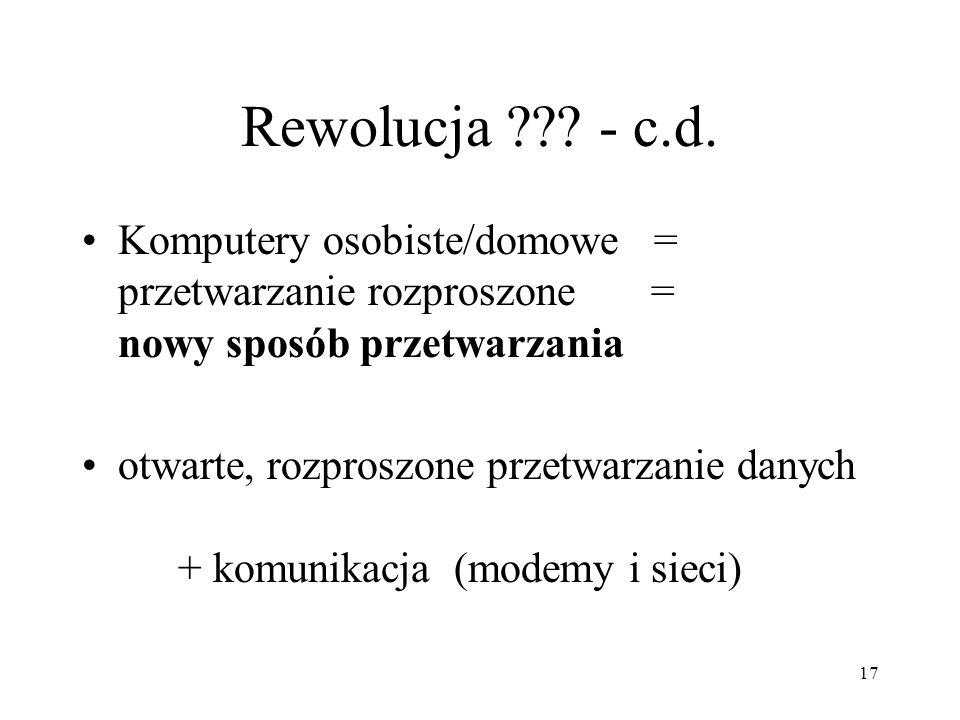 Rewolucja - c.d. Komputery osobiste/domowe = przetwarzanie rozproszone = nowy sposób przetwarzania.