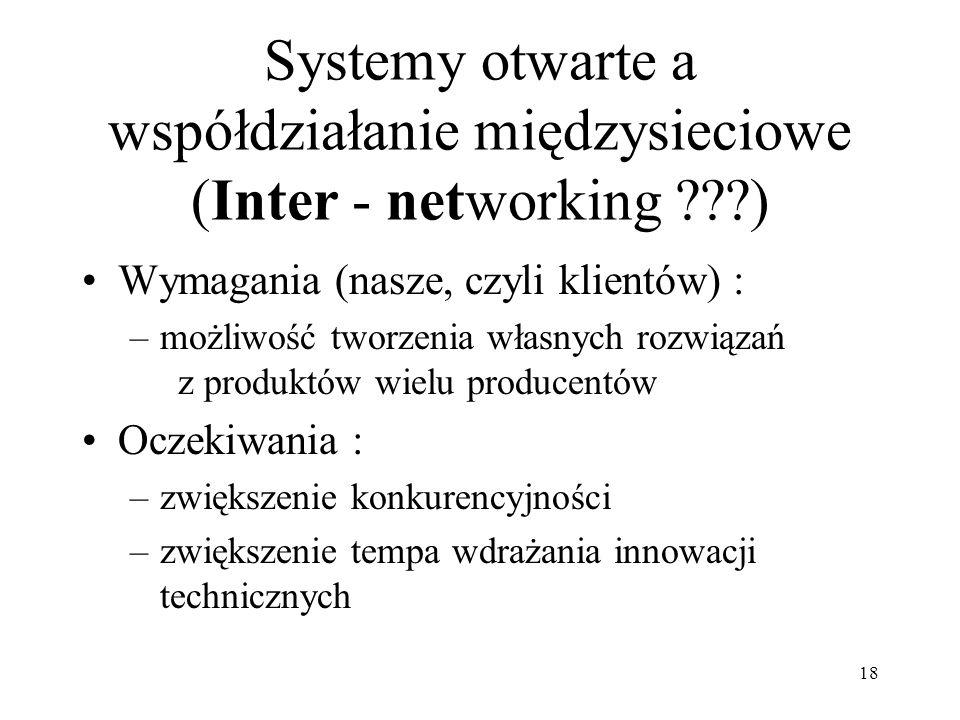 Systemy otwarte a współdziałanie międzysieciowe (Inter - networking )