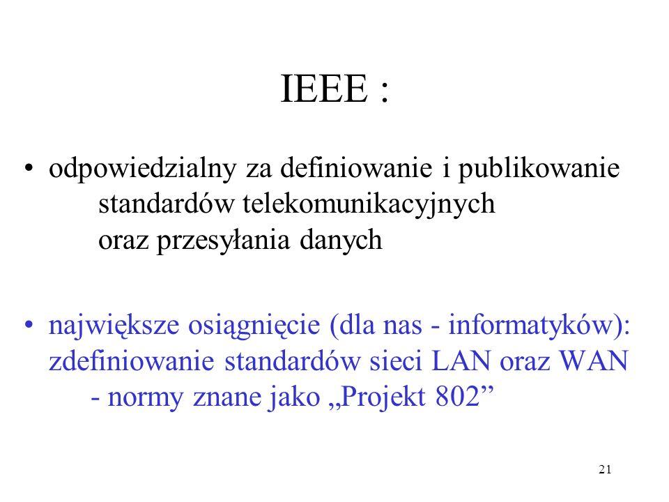 IEEE : odpowiedzialny za definiowanie i publikowanie standardów telekomunikacyjnych oraz przesyłania danych.