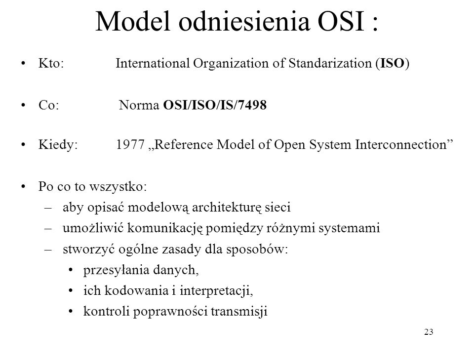 Model odniesienia OSI :