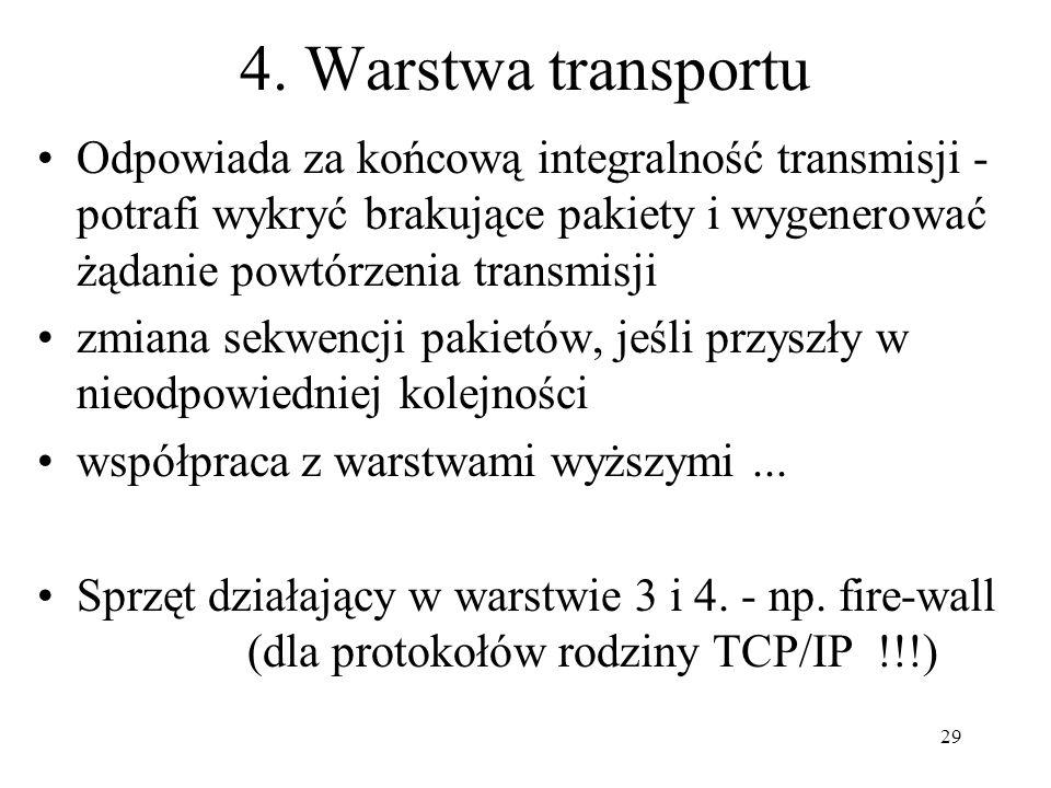 4. Warstwa transportu Odpowiada za końcową integralność transmisji - potrafi wykryć brakujące pakiety i wygenerować żądanie powtórzenia transmisji.