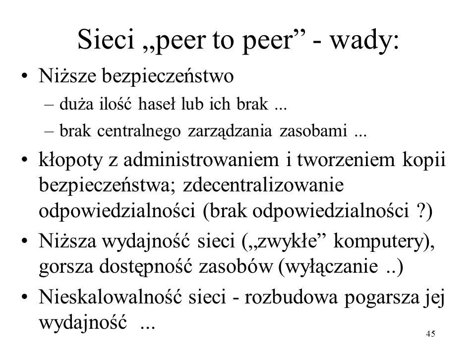 """Sieci """"peer to peer - wady:"""