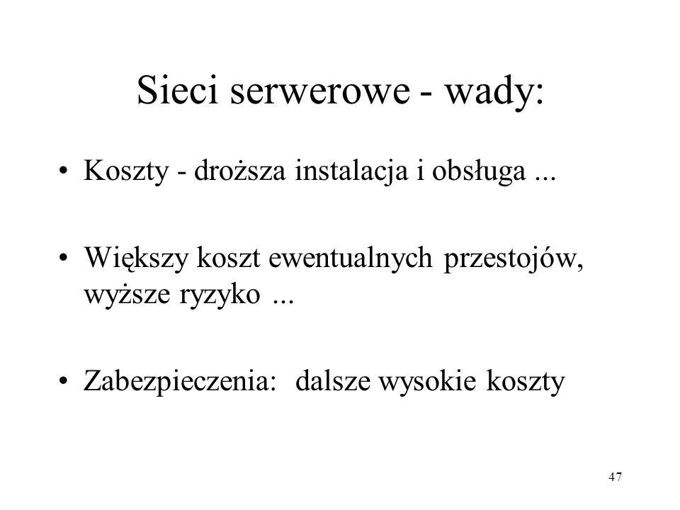 Sieci serwerowe - wady: