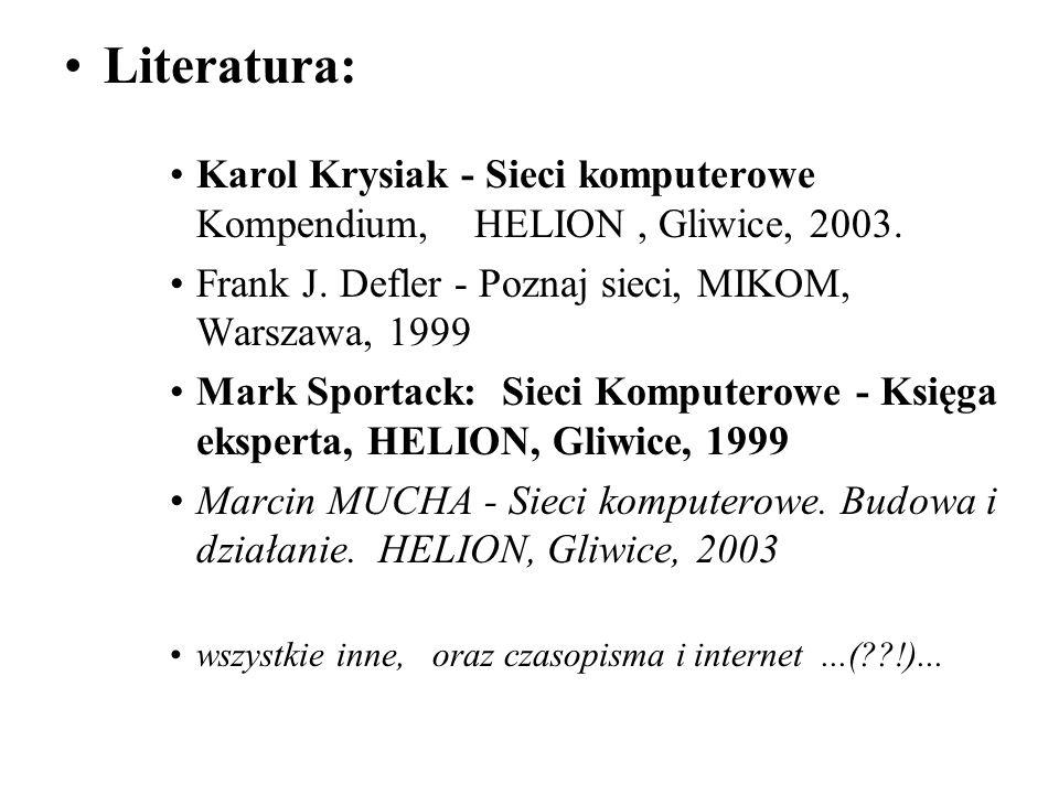 Literatura: Karol Krysiak - Sieci komputerowe Kompendium, HELION , Gliwice, 2003. Frank J. Defler - Poznaj sieci, MIKOM, Warszawa, 1999.
