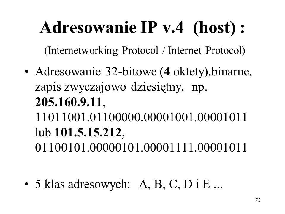 Adresowanie IP v.4 (host) : (Internetworking Protocol / Internet Protocol)