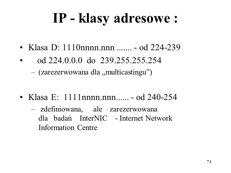 IP - klasy adresowe : Klasa D: 1110nnnn.nnn ....... - od 224-239
