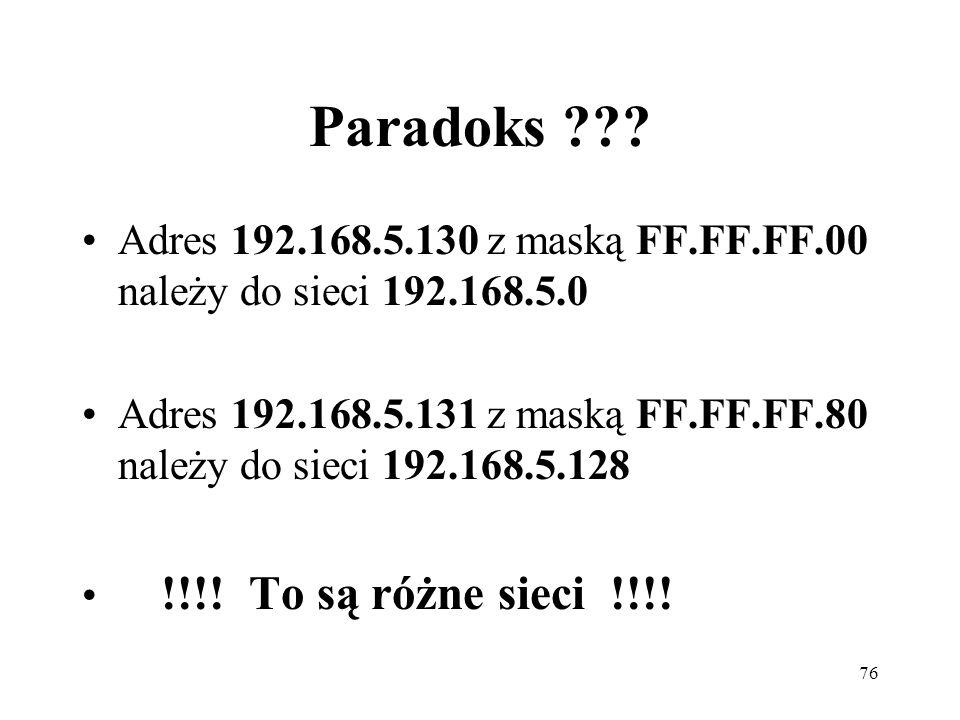 Paradoks Adres 192.168.5.130 z maską FF.FF.FF.00 należy do sieci 192.168.5.0.