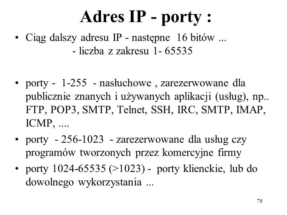 Adres IP - porty : Ciąg dalszy adresu IP - następne 16 bitów ... - liczba z zakresu 1- 65535.