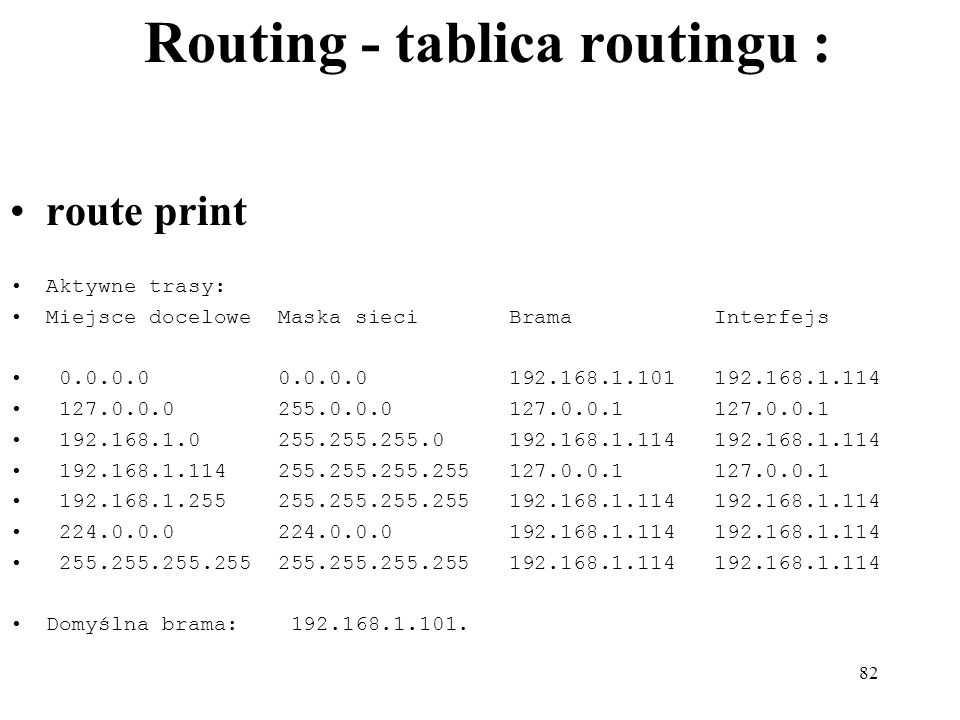 Routing - tablica routingu :