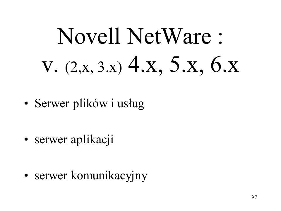 Novell NetWare : v. (2,x, 3.x) 4.x, 5.x, 6.x