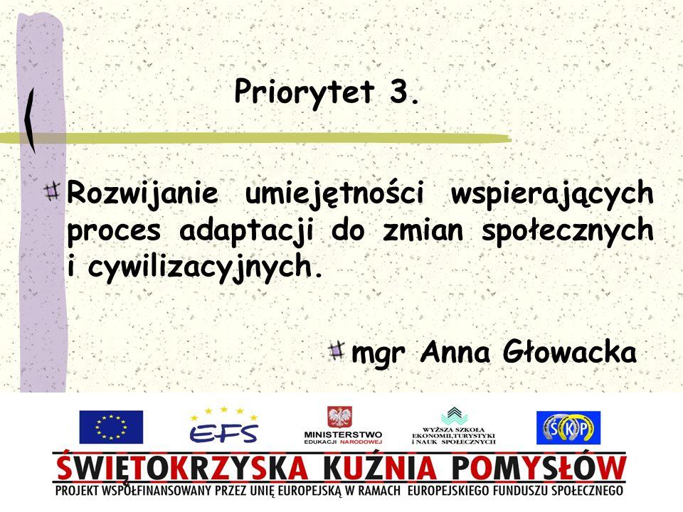 Priorytet 3. Rozwijanie umiejętności wspierających proces adaptacji do zmian społecznych i cywilizacyjnych.