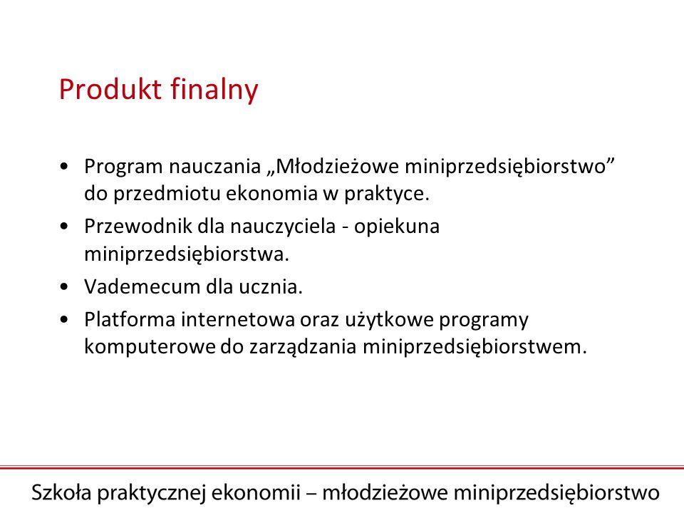 """Produkt finalny Program nauczania """"Młodzieżowe miniprzedsiębiorstwo do przedmiotu ekonomia w praktyce."""