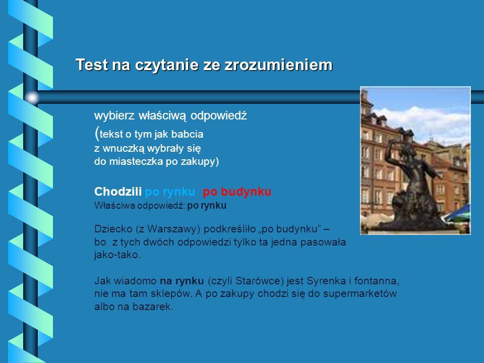 Test na czytanie ze zrozumieniem