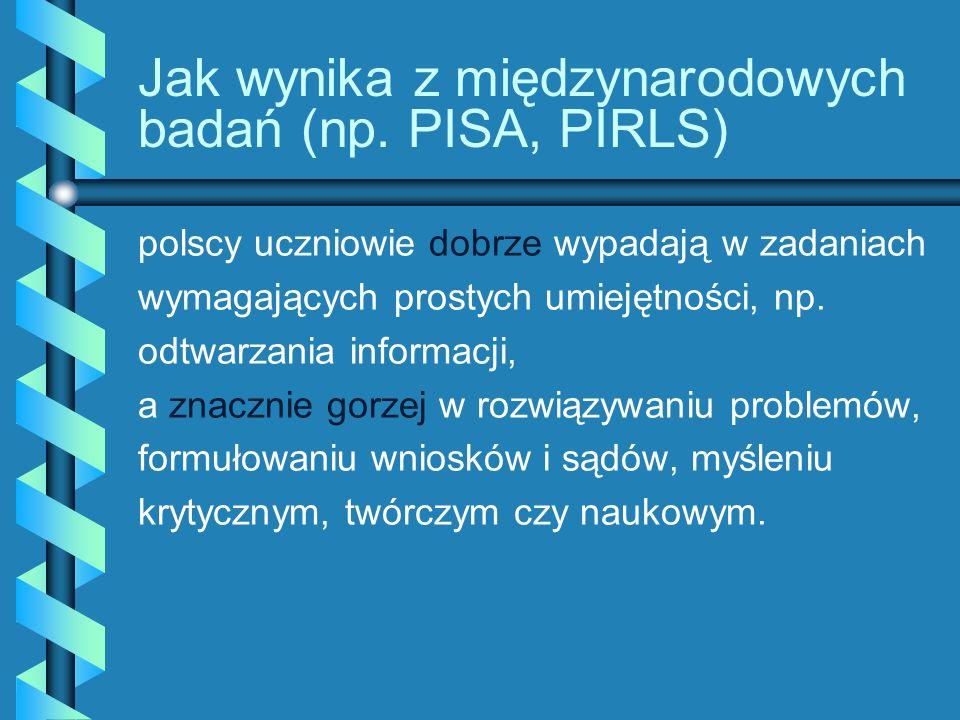 Jak wynika z międzynarodowych badań (np. PISA, PIRLS)