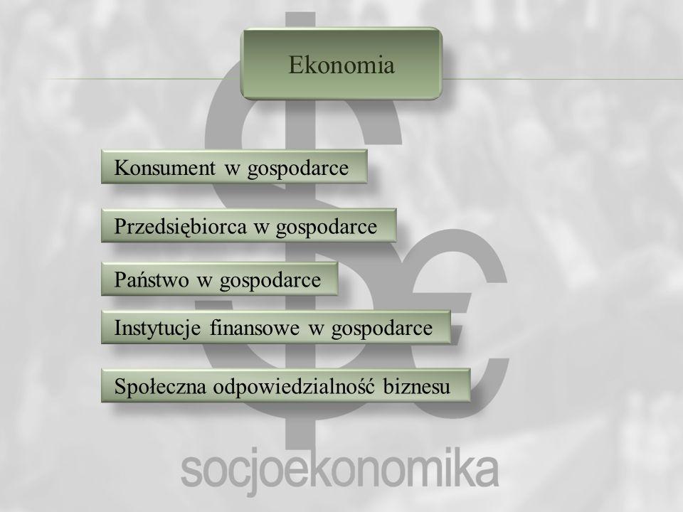 Ekonomia Konsument w gospodarce Przedsiębiorca w gospodarce