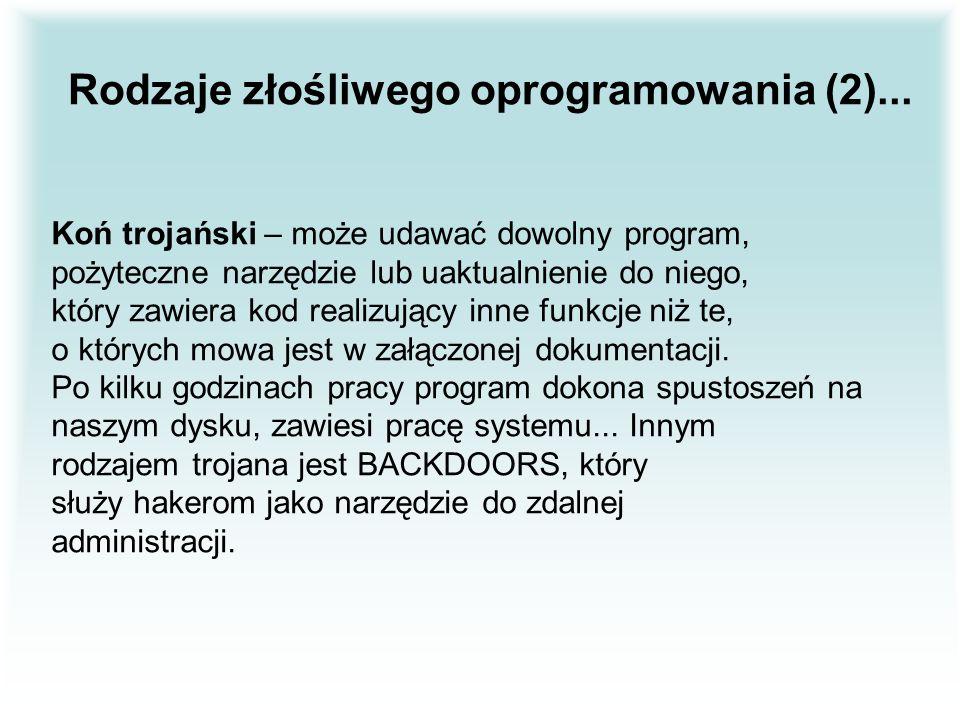 Rodzaje złośliwego oprogramowania (2)...
