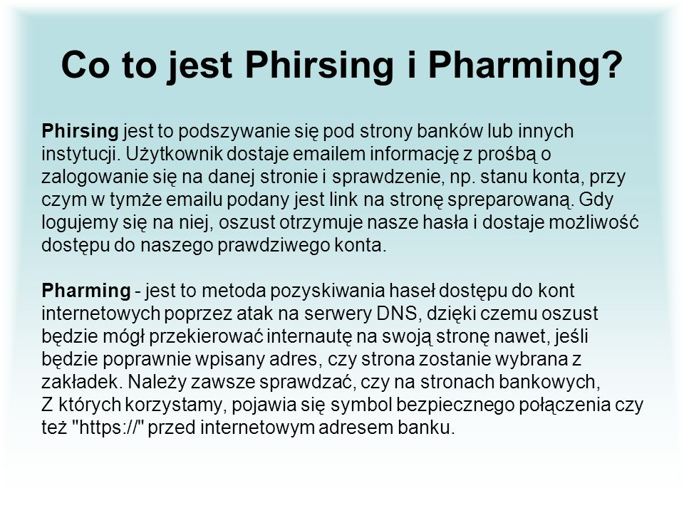 Co to jest Phirsing i Pharming
