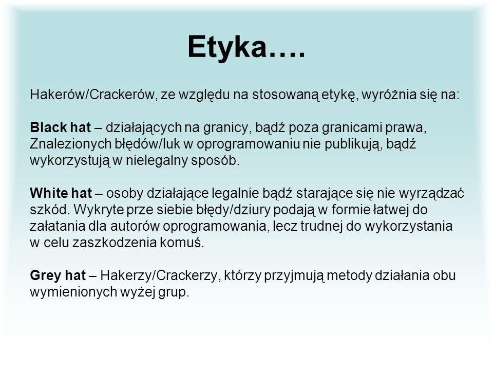 Etyka…. Hakerów/Crackerów, ze względu na stosowaną etykę, wyróżnia się na: Black hat – działających na granicy, bądź poza granicami prawa,