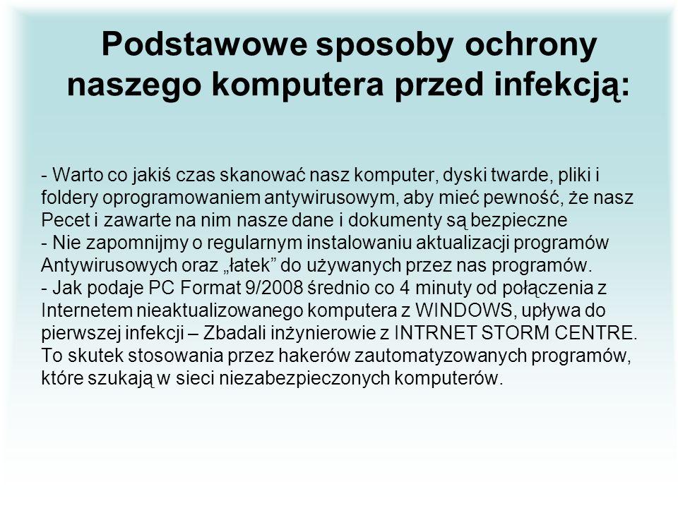 Podstawowe sposoby ochrony naszego komputera przed infekcją: