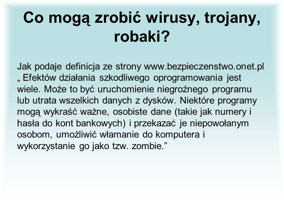 Co mogą zrobić wirusy, trojany, robaki