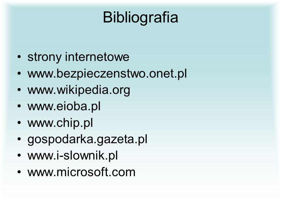 Bibliografia strony internetowe www.bezpieczenstwo.onet.pl