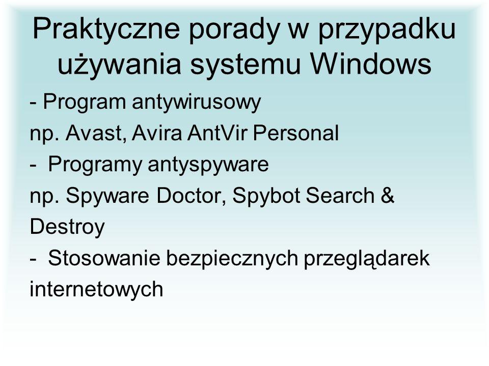 Praktyczne porady w przypadku używania systemu Windows