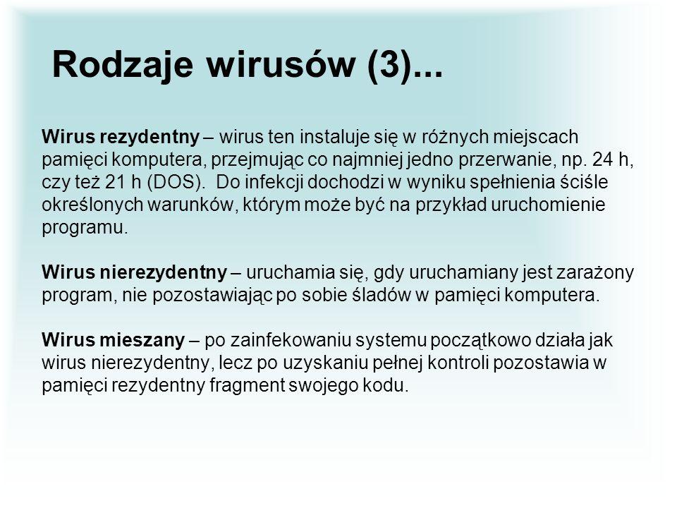 Rodzaje wirusów (3)... Wirus rezydentny – wirus ten instaluje się w różnych miejscach.